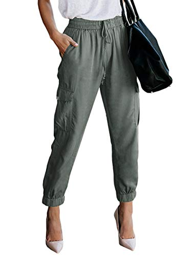 Women's Elastic Waist Cargo Casual Drawstring Pants Ankle Length Jogger Cropped Trousers Green