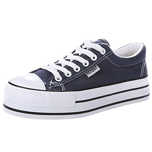 Renben Plataforma clásicos Zapatos de la zapatilla baja de la cuña de las zapatillas de deporte de...