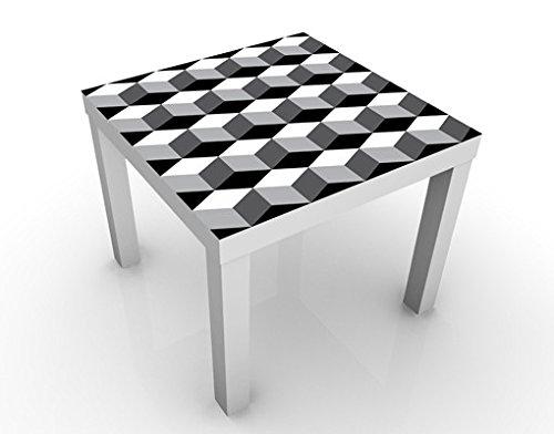 Apalis Design Tisch Würfeliges Grafikdesign 55x55x45cm Beistelltisch Couchtisch, Tischfarbe:Weiss;Größe:55 x 55 x 45cm