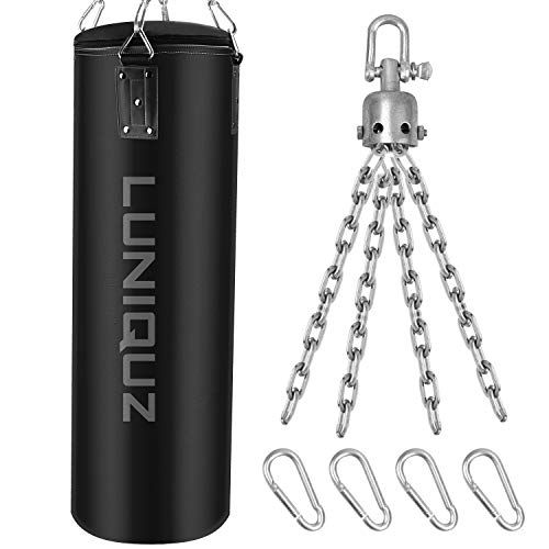 Luniquz Hanging Punching Bag Unfilled Leather Heavy Boxing Bag with Swivel Mount Set for Adults Youth 39quot/Black