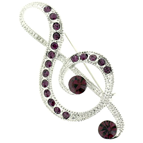Brooches Store Large Amethyst Purple Crystal Musical Treble Clef Brooch