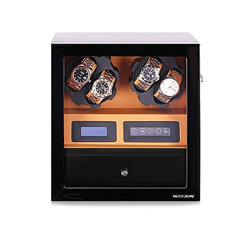 FFAN Enrollador de Reloj automático, Caja de Madera, Giratorio para colección de 4 y 5 es, 5 Modos de rotación, Adaptador de CA de 110-240 V Good Life
