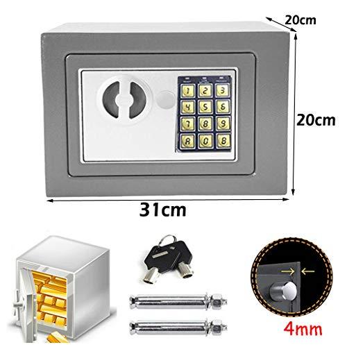 Elektronik Safe Tresor Möbeltresormit zahlenschloss und 2 Notschlüssel wasserdichte Sicherheitsbox Wandtresor Grau 31 x 20 x 20 cm