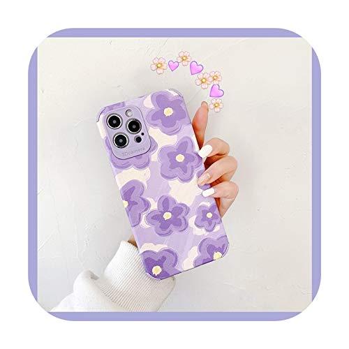 Funda suave de silicona de flores lindas púrpuras para iPhone 7 8 Plus 2020 SE X XR XS Max 11 11Pro Max 12 12Pro Max Pro Mini Case Bag-para iPhone 11