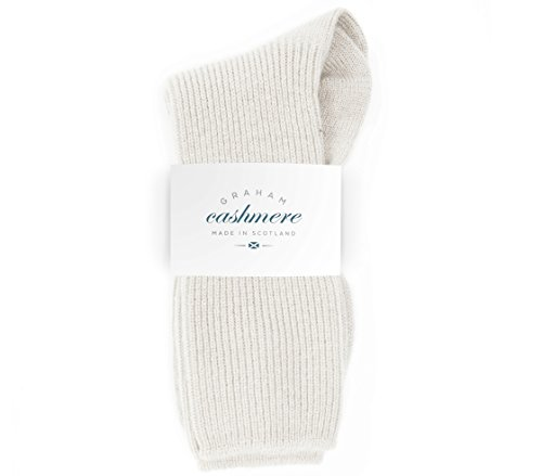 Graham Cashmere - Womens Cashmere Rib Socks - Made in Scotland - Gift Boxed (Snow)(Size: One Size)