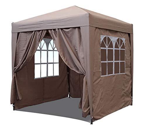 QUICK STAR Pop-Up-Pavillon 2,5 x 2,5 m Sand mit 4 Easy-Klett Seitenwänden mit 2 Reißverschlüssen.