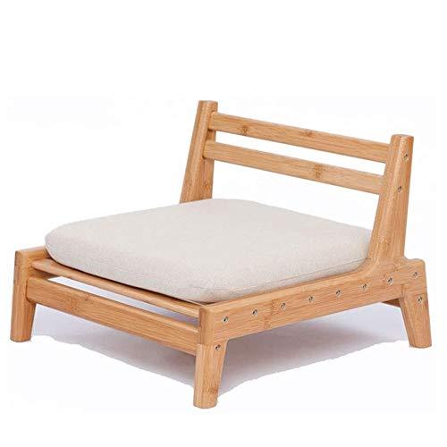 GZD La Silla del Asiento Baja para Sala de Estar Japonesa Balcón Silla con el Amortiguador Accent Furniture, Tatami meditación Respaldo Silla