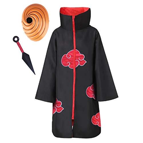 Naruto Akatsuki/Uchiha Itachi/Namikaze Minato Anime Cosplay Mantel Halloween Weihnachten Party Kostüm Naruto Akatsuki Umhang Kostüm Jacke Cape Stirnband Cosplay Zubehörset (17 Small Maske,155)