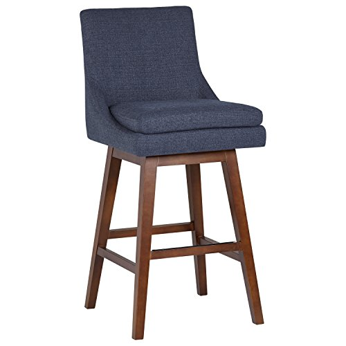 An Amazon Brand – Stone & Beam Alaina Contemporary Leather High-Back Swivel Seat Counter Stool | 43' H | Blue