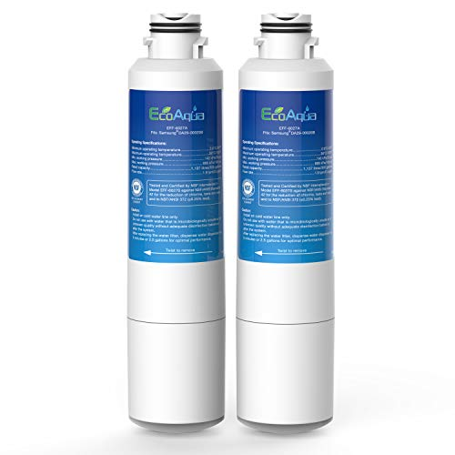 Product Image of the EcoAqua EFF-6027A Replacement Filter, Compatible with Samsung DA29-00020B, DA29-00020A, HAF-CIN/EXP, 46-9101 Refrigerator Water Filter, 2 Pack