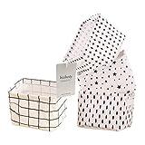Toysdone Small Canvas Storage Bins, Mini Cute Foldable Fabric Storage Basket Box, Toy Organizer Hamper for Baby,Kids,Pets,Office, Makeup, Keys,Shelves,Desk,Liitle Items 4 Pack(black&white)