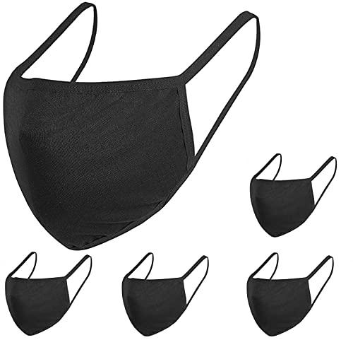 5 Pack Fashion Protective, Unisex Black Dust Cotton, Washable, Reusable Cotton Fabric Face Covering