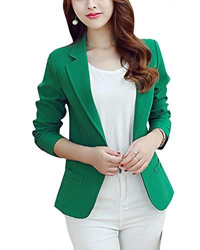 Mujer Casual Color Sólido Un Botón Trajes De Chaqueta Slim Fit Trabajo Blazer Verde XL