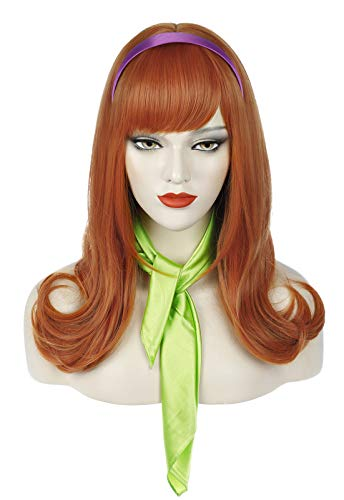 Juziviee Womens Orange Wigs for Daphne Cosplay Costume Long Ginger Copper Hair Wig with Bangs Cute Synthetic Wigs for Party Halloween ( Adult ) AD026OR