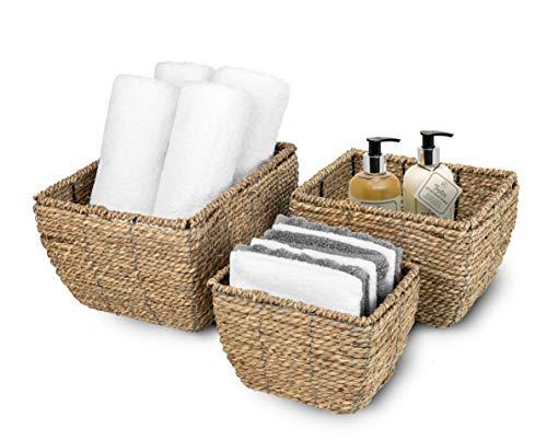 Sorbus Juego de 3 cestas de almacenamiento apilables abiertas y cestas decorativas para organizar estantes, sala de estar, baño, etc.,...
