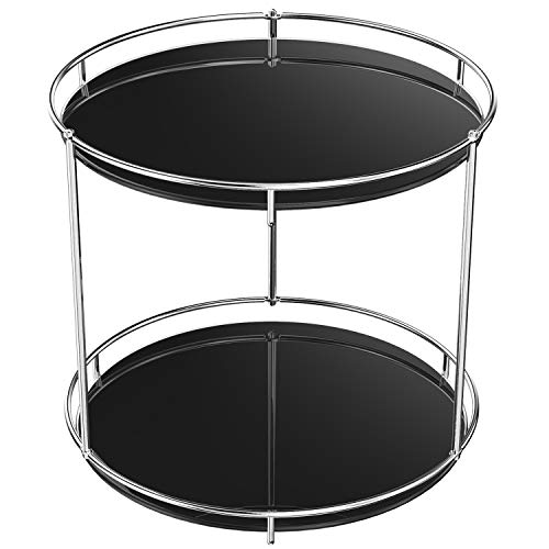 360 Rotating Makeup Organizers of Perfumes 2 Tier Tray Makeup Lazy Susan Vanity Skincare Holder and Cosmetic Brush Vintage Storage for Bathroom Dresser,Black Tempered Glass,Stainless steel Silver
