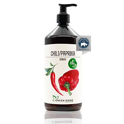 GREEN HOME LOVE NATURE®️ 1L Chili Dünger mit hohem Nährstoffgehalt - nachhaltiger Paprika Dünger einfach zu dosieren - Made in Germany