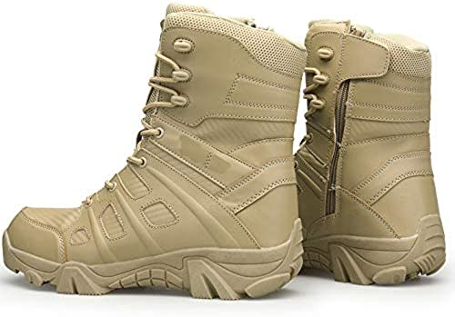 Wangyan hombres Zapaños Militares botas de Combate de Cuero para Hombre botas de Senderismo tácticas para hombres botas para Acampar al Aire Libre Desgaste Antideslizante Calzaño