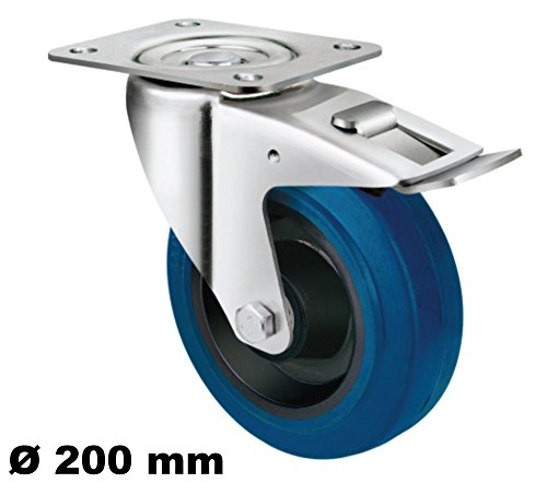 Transportrolle Rollen 200mm Lenkrolle Bremse Bock Rollen Elastik Reifen Blue Wheel Blaue Rollen Blau (Lenkrolle+Bremse 200 mm)