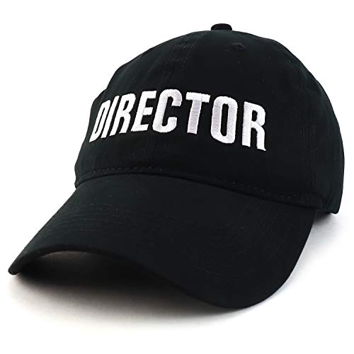 Trendy Apparel Shop Director Embroidered Soft Cotton Low Profile Dad Hat Baseball Cap - Black