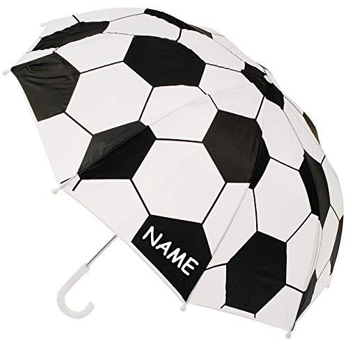 alles-meine.de GmbH Kinderschirm / Regenschirm - Fußball - inkl. Name - Ø 75 cm - Kinder - Stockschirm - groß mit Griff - Einklemmschutz - Regenschirme - für Jungen Mädchen - Sch..