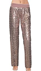 Rose Gold Color Sequin With Velvet Straight Leg Pants