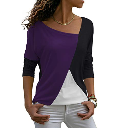 THANTH Womens Tees Casual Shirts Long Sleeve Patchwork Color Block Loose Fits Tunic Tops Blouses Purple Black L