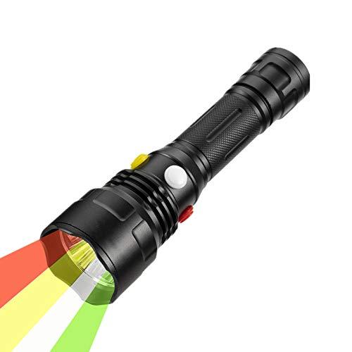 Linterna LED WindFire con Luz Roja, Verde, Amarilla, Blanca, 4 en 1, Varios Colores, Linterna Táctica para Exteriores, Antorchas de Señal de Carretera para Visión Nocturna, Caza, Pesca, Camping