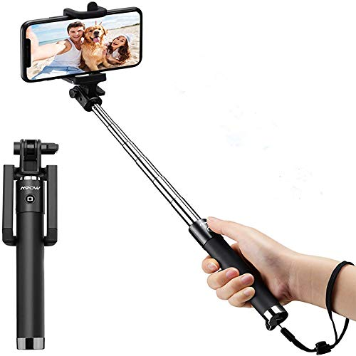 Selfie Stick, Mpow Mini Extendable Selfie Stick with Bluetooth Remote, Phone Holder Monopod with Lightweight Design for Family Travel Photos, Compatible with iPhone 12 11 Pro XR Max, Android Phones