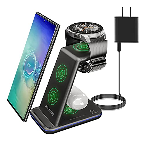 3 in 1 Wireless Charging Stand, Qi Certified 15W Fast Wireless Charger Compatible with Samsung S20/S10/Note 20/10/9, Charging Station/Dock for Galaxy Watch 3/Active 2/1/Gear Sport/S3/2, Galaxy Buds