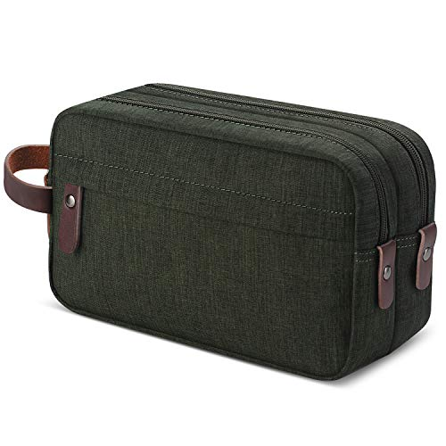 Men's Travel Toiletry Organizer Bag Canvas Shaving Dopp Kit Bathroom Bag (Army Green Water-resistant)