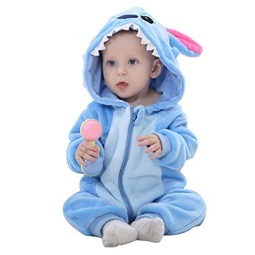 WSLCN Unisex Baby Weich Flanell Overall Süß Strampler Kapuzen Spielanzug Strampelanzug Winter Herbst Cartoon Tier Warm Alltag Blau 2 Asie 90(13-18 Monate) Blau 2 Asie 90(13-18 Monate)