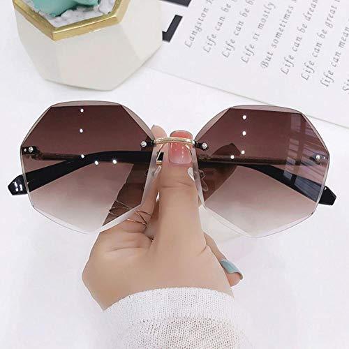 XMYNB Gafas Sol Las Gafas De Sol Sin Montura De Las Mujeres De La Lente De Corte De La Lente De Corte De Las Gafas De Sol De Protección Uv