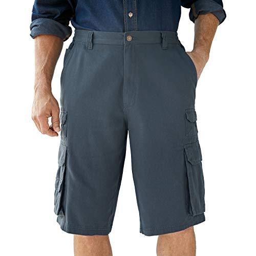 Boulder Creek by Kingsize Men's Big & Tall 12' Side-Elastic Stacked Cargo Pocket Shorts - Big - 58, Carbon