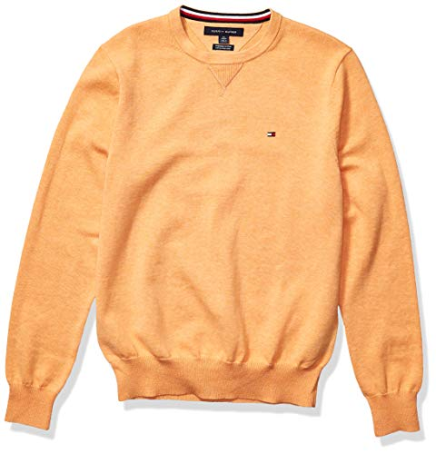 Tommy Hilfiger Men's Solid Crewneck Sweater, Canteloupe Heather, LG