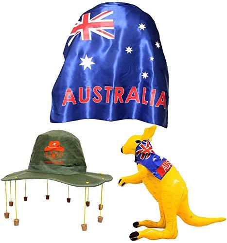 Disfraz del Da de Australia conjunto con Bandera Aussie (Australiana) Grande, Sombrero Australiano con Corchos y Canguro Hinchable
