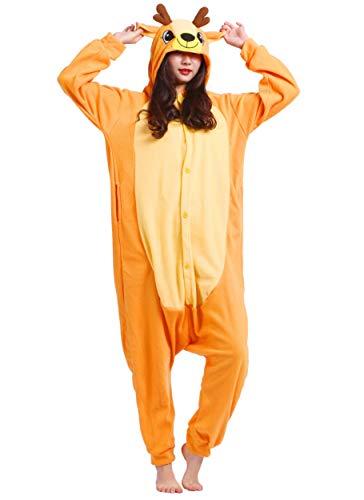Pijama Animal Entero Unisex para Adultos con Capucha Cosplay Pyjamas Ciervo Ropa de Dormir Traje de Disfraz para Festival de Carnaval Halloween Navidad
