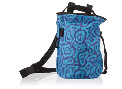 Hueco Kreidetasche mit Gürtel und Reißverschluss-Smartphone-Tasche für Klettern, Bouldern, Gymnastik, Fitness, Crossfit und Gewichtheben (blau/lila Welle)