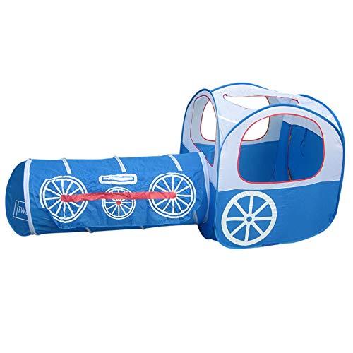Kids Train Tent Playhouse, 2 en 1 Tienda de Juguetes para niños Plegable Baby Pop Up Blue Play House Train Carpa con túnel Playhouse(Azul)