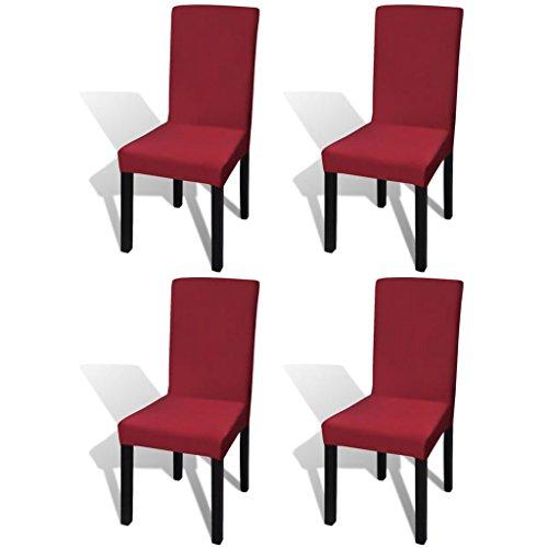 UnfadeMemory Gerader Stretch Stuhlbezug Stuhlhusse Stretchhusse Stretchstoff Stühle Husse Verwendung für Restaurants Hotels Haushalt oder bei Parties (Bordeauxrot, 4 Stück)