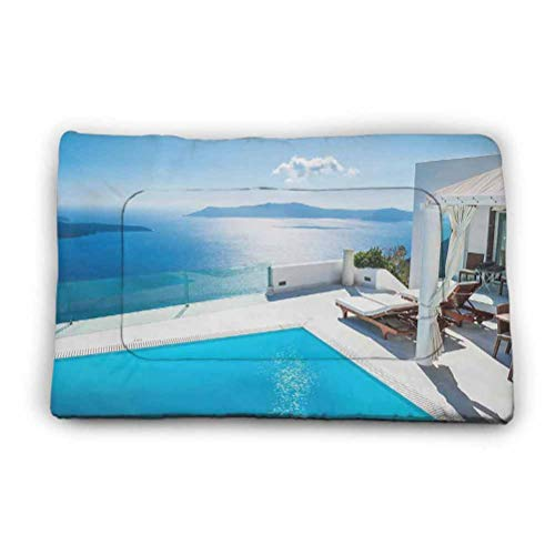 Anti-Slip Kennel Pad, Architecture on Santorini Island Greece Swimming Pool Blue White Hotel Sea View, 52' x 34' antimud mat for Pets,