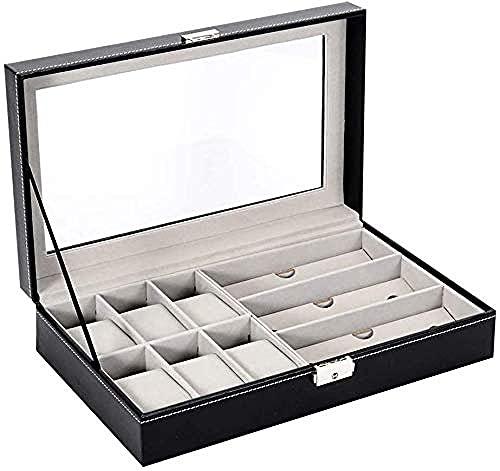 Caja de reloj, reloj de 6 dígitos + caja de almacenamiento de gafas de 3 dígitos, caja de almacenamiento para joyas y gafas, adecuada para uso personal o en tienda de relojes