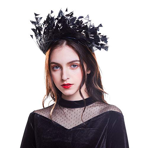 CNNIK 2019 Nueva diadema de plumas Fascinator Diadema Accesorios para el cabello Corona Decoración Cisne Masquerade Party tocado para mujeres niñas damas