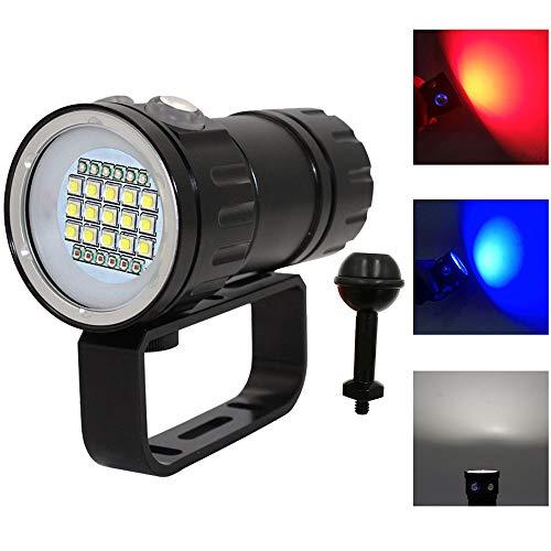 E-kinds Lampe de plongée Lanterna, 18650 Torch Underwater 80M Photographie lumière Lampe vidéo L2 Blanc Rouge Bleu LED Scuba Photo Fill Light