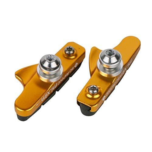 N\A 2 unids Bicicletas de Freno V-Freno Pads con Canal de Barro Pastillas de Freno de Bicicletas silenciosa Bicicleta de Carretera Pastillas de Freno de Goma Accesorios para Bicicletas (Color : Gold)