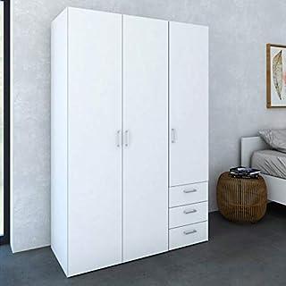 TVilum Wooden Clothes Wardrobe, White, 704114949