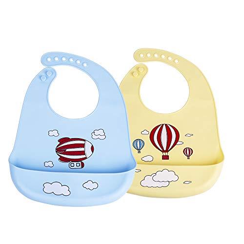 Wasserdicht Lätzchen Baby Lätzchen Baby babylätzchen silikon Lätzchen Abwaschbar Baby lätzchen aus Silikon mit Auffangschale Antibakteriell BPA frei spülmaschinenfest Einfacher Reinigung 2 pcs