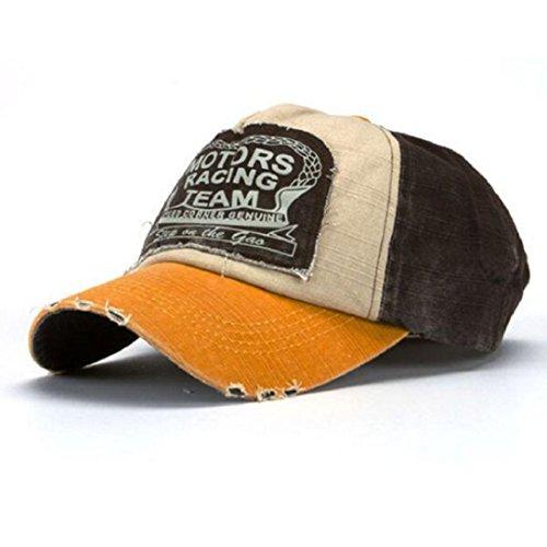 Amison Cool Nuovo Unisex Baseball Tappo Cotone Moto Tappo Bordo Rettifica Vintage Cappello (A)