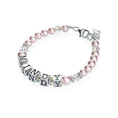 Personalized Name Luxury Sterling Silver with Pink European Crystal Baby Girl Keepsake Bracelet (BPNP)
