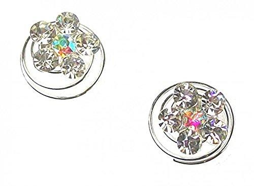 Bride Boutique Bibi 2 Silver mariage/argent/strass fleur de cheveux de bobines Tourbillons Spirale à Torsade-Diamètre 1 cm